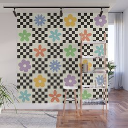 Retro Colorful Flower Double Checker Wall Mural