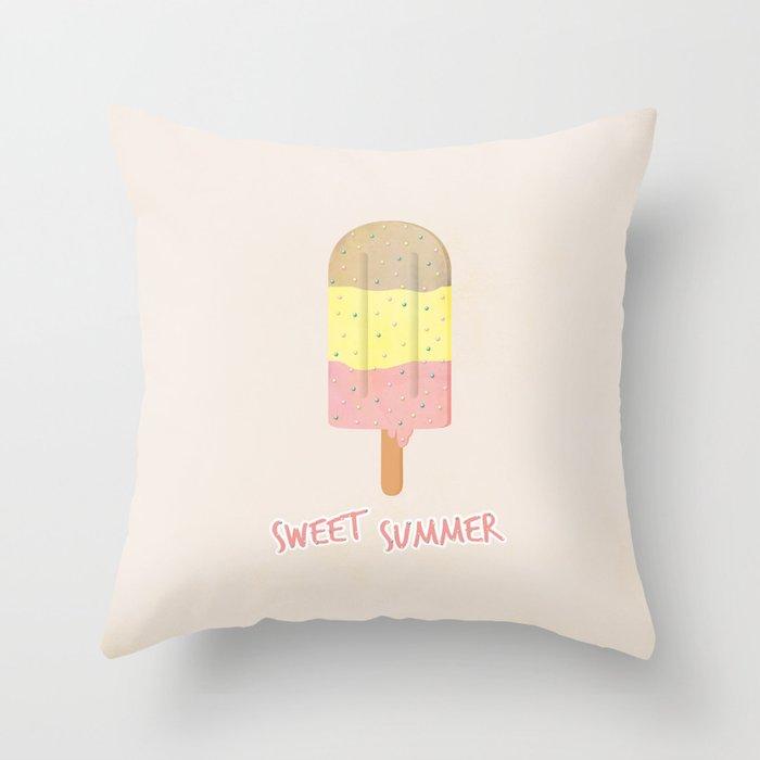 Summer Ice Cream Throw Pillow