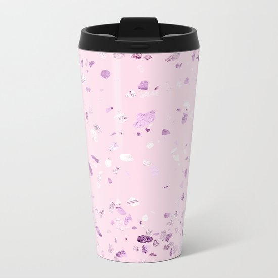 Raspberry Pink Quartz Terrazzo Metal Travel Mug