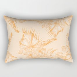 Island Vacation Hibiscus Coral Mango Orange Rectangular Pillow