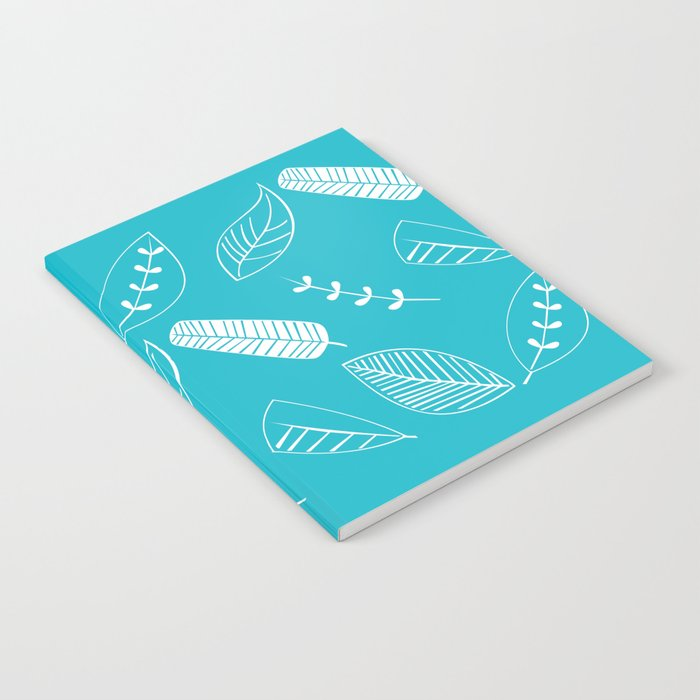 Leaves on turquoise II Notebook