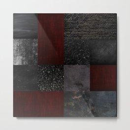 Patchwork (Burgundy + Black) Metal Print