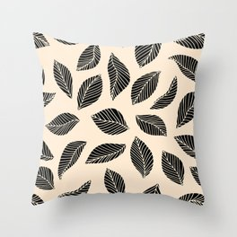 Falling Leaves in black and ivory Throw Pillow