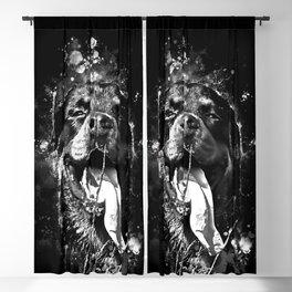 rottweiler dog long tongue wsbw Blackout Curtain