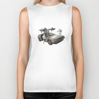 lost Biker Tanks featuring Lost, searching for the DeathStarr _ 2 Stormtrooopers in a DeLorean  by Vin Zzep