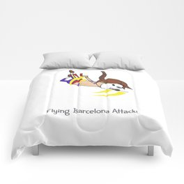 Flying Barcelona Attack Comforters