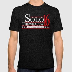 Han Solo & Chewbacca For President! 2016 MEDIUM Mens Fitted Tee Tri-Black
