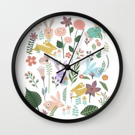 Springtime In The Bunny Garden Of Floral Delights Wall Clock