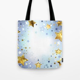 Blue Background with Gold Stars Tote Bag
