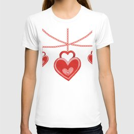 Watercolor Red Heart Lock Hanging Pattern T-shirt