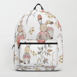 Cute Easter Bunnies with Watercolor Flowers,Sprigs and Leaves Backpack
