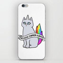 Inclusive Feminism Always - Rebel the Unicorn Cat Queer Feminist Intersectional iPhone Skin