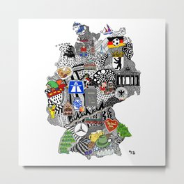 Germany Doodle Metal Print