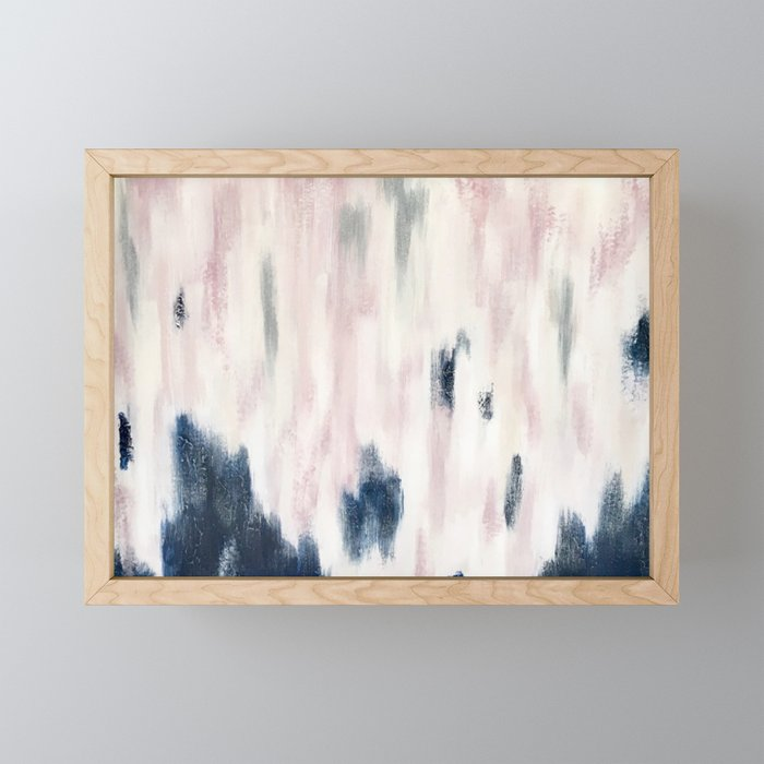 Blush Pink and Blue Pretty Abstract Framed Mini Art Print