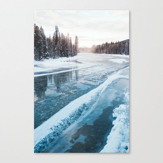 Frosty River Banks Canvas Print