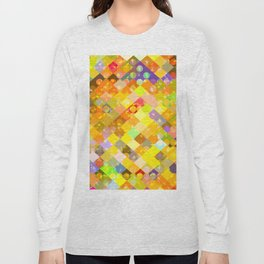 geometric square pixel and circle pattern abstract in yellow orange red blue Long Sleeve T-shirt
