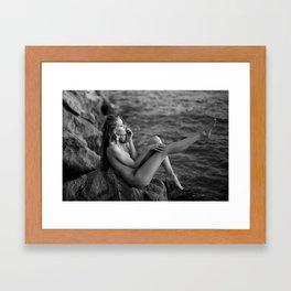 Waiting for the waves Framed Art Print
