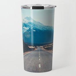 road asphalt mountains marking mount cook new zealand Travel Mug