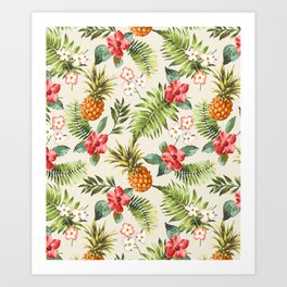 pineapple with tropical flower Art Print