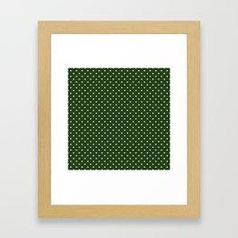 Small White Polka Dot Hearts on Dark Forest Green Framed Art Print