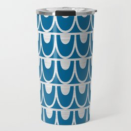 Mid Century Modern Abstract Fish Scale Pattern in Ocean Blue and Silver Travel Mug