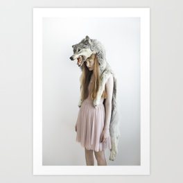 Girl with wolf Art Print