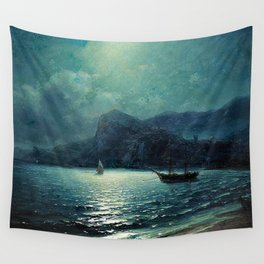 Shipping in a bay by Moonlight - Attributed to Ivan Aivazovsky Wall Tapestry