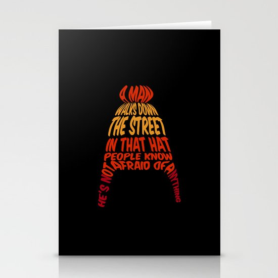 A man walks down the street... Stationery Cards