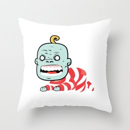 Zombaby decomposition face two Throw Pillow