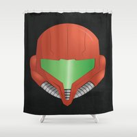 metroid Shower Curtains featuring Samus Helmet - Super Metroid by The Potion Shop