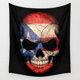 Dark Skull with Flag of Puerto Rico Wall Tapestry