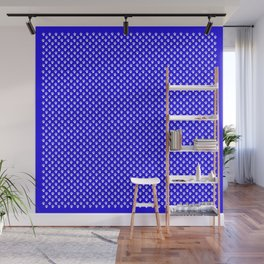 Tiny Paw Prints Pattern - Bright Blue & White Wall Mural