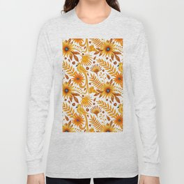 Sunshine yellow orange blue brown watercolor bird floral Long Sleeve T-shirt