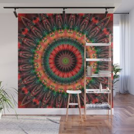 Mandala Patchwork red 1 Wall Mural