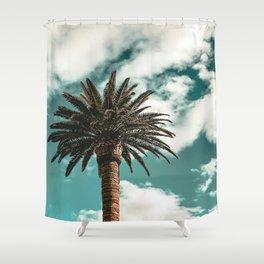 Lush Palm {1 of 2} / Teal Blue Sky Tree Leaves Art Print Shower Curtain