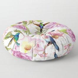 Vintage Roses and Hummingbird Pattern Floor Pillow
