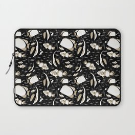 Tropical Angelfish Cool Black and White Pattern Laptop Sleeve