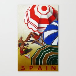 Vintage Spain Beach Travel Poster Canvas Print