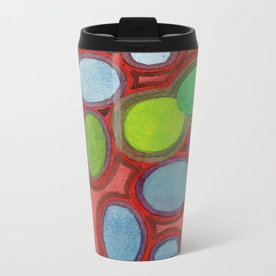 Abstract Moving Round Shapes Pattern Metal Travel Mug