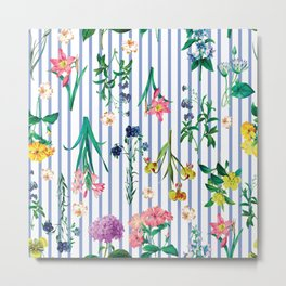 Contemporary Floral Pattern On Blue Stripes Metal Print