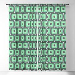 Mod Green Squares Sheer Curtain
