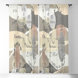 Names of God Sheer Curtain