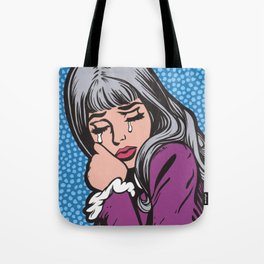 Silver Hair Sad Girl Tote Bag