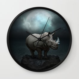 Power Is No Blessing In Itself v.1 (Protect the Rhino)  Wall Clock