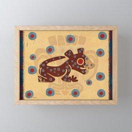 Mayan Baby Jaguar Folk Art Textile Framed Mini Art Print