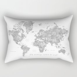 Oh darling, where to next... detailed world map in grayscale watercolor Rectangular Pillow