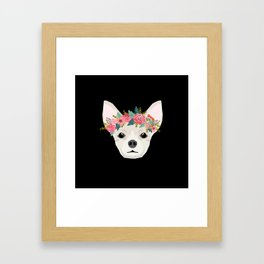 Chihuahua dog breed floral crown chihuahuas lover pure breed gifts Framed Art Print