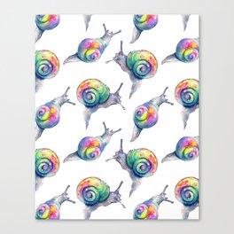 Rainbow Crystal Clear Snails Canvas Print