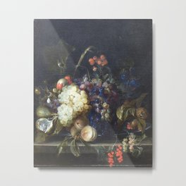 Jan van Huysum - Still Life of Fruit on a Marble Table Metal Print