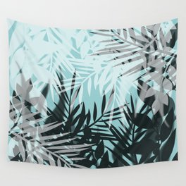 Tropical blue summer print palm leaves Wall Tapestry